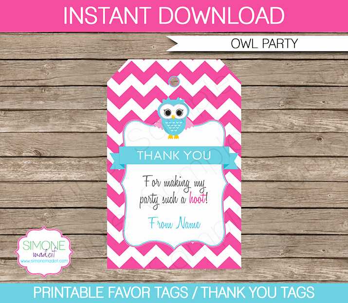 Owl Birthday Party Favor Tags Thank You Tags