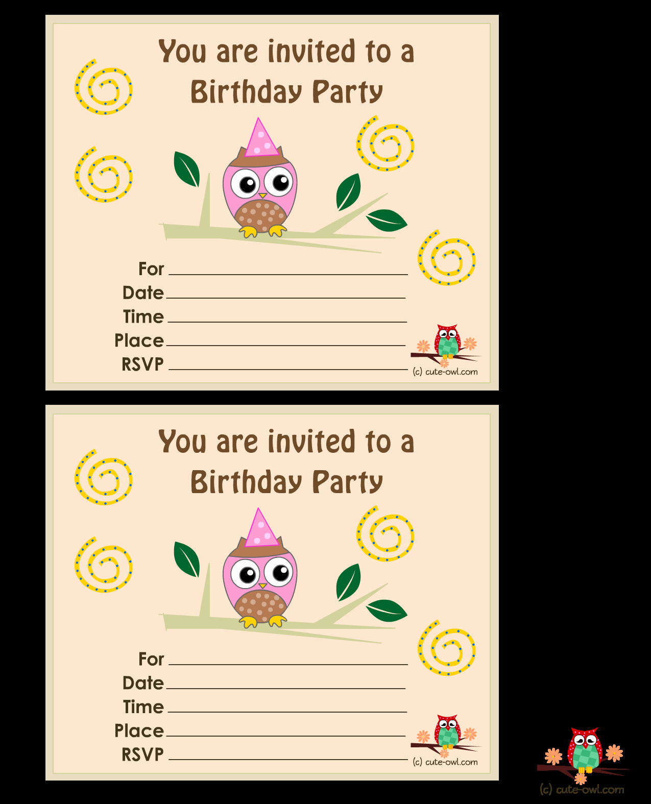 Owl Birthday Party Invitations Template