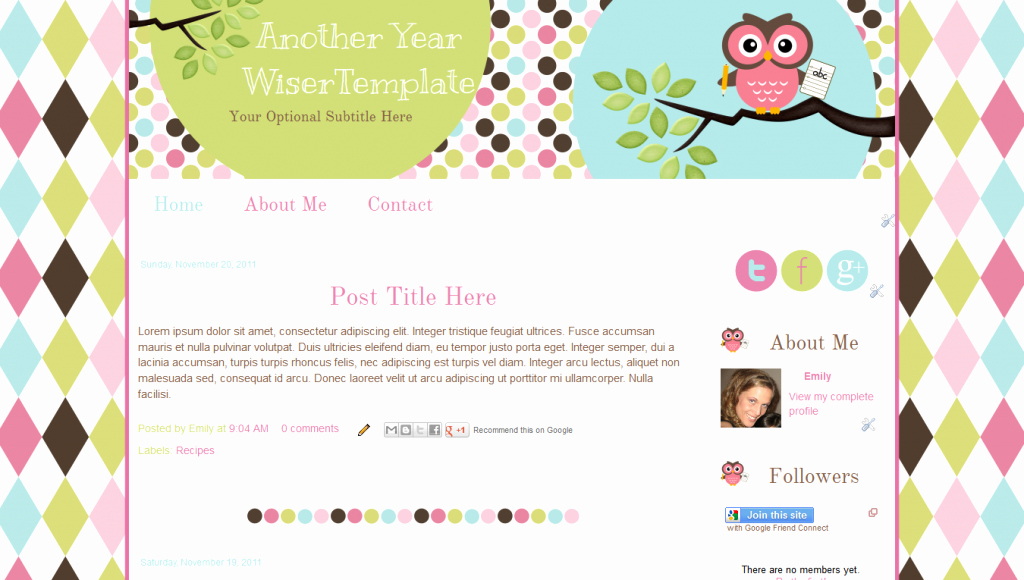 Owl Premade Blogger Template for Teachers