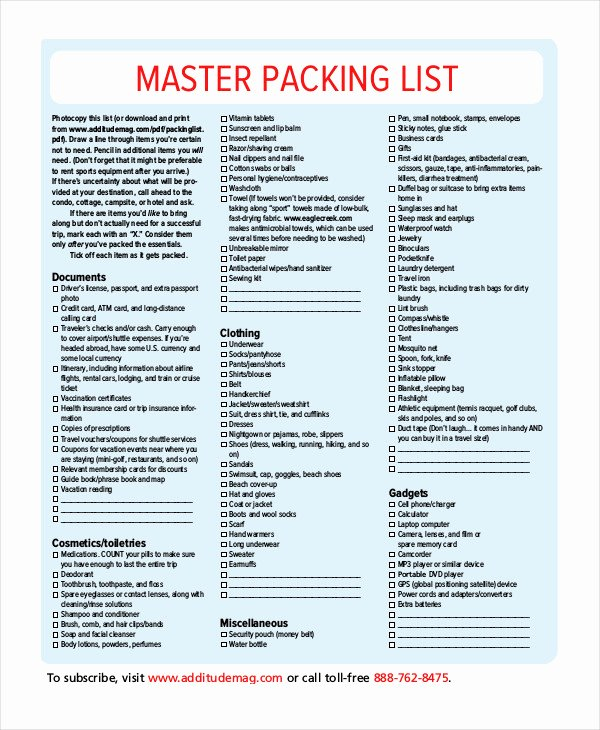 Packing List Template 14 Free Word Pdf Documents