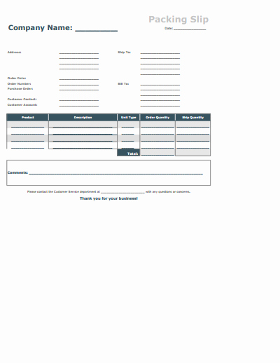 Packing Slip Template Free Download Create Edit Fill