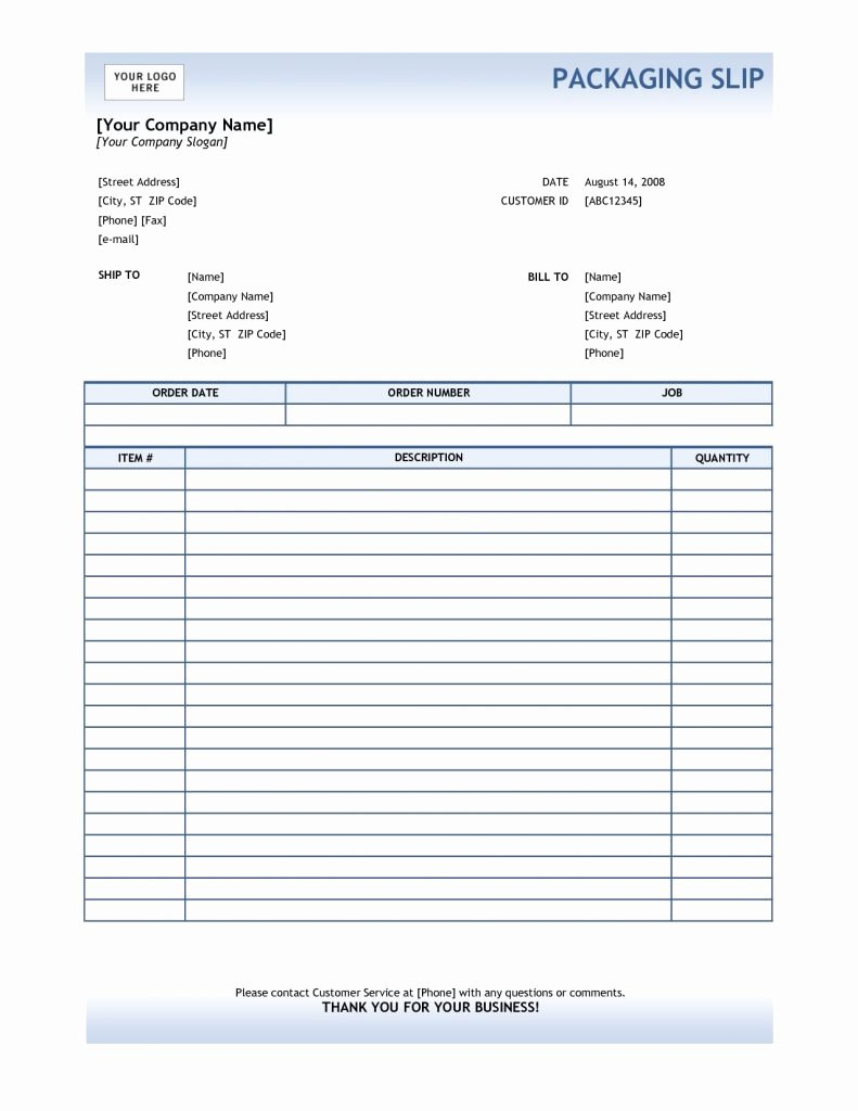 Packing Slip Template Word Featuring Packing Slip Template
