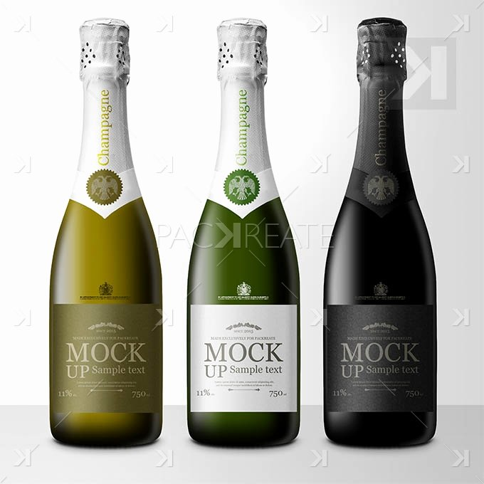 Packreate Champagne Bottle Label Psd Template