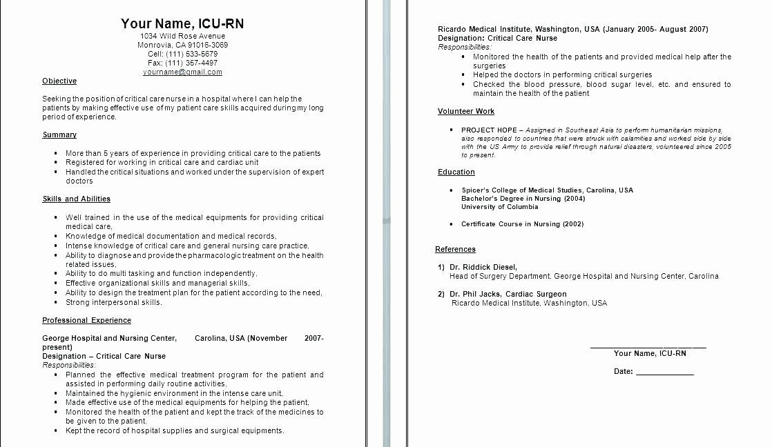 Pacu Rn Resume Objective Examples Nursing Resumes Best