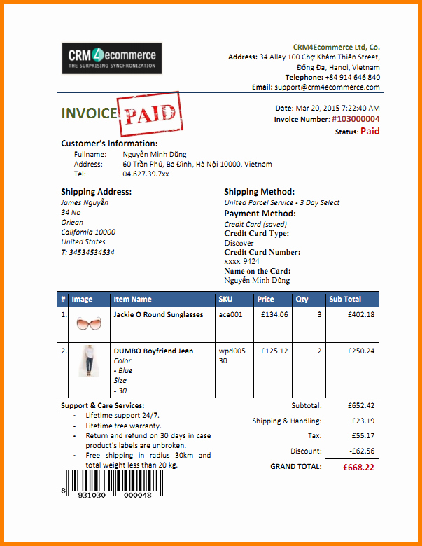Paid In Full Invoice Template 6 Paid Invoice Template