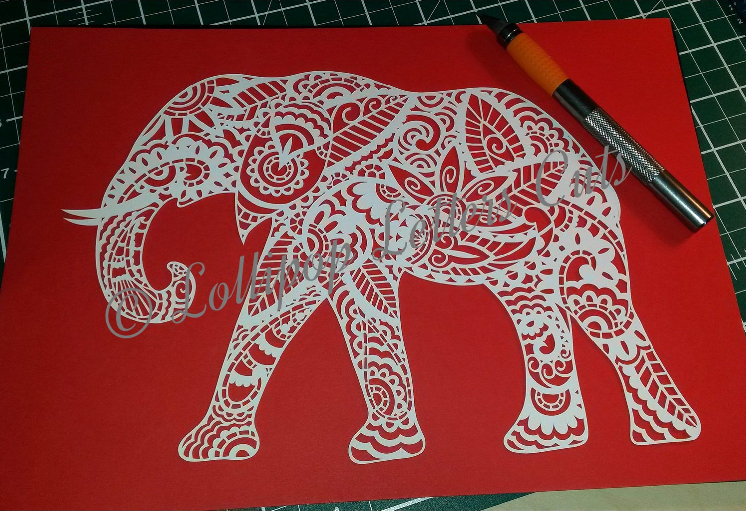 Paisley Elephant Diy Paper Cut Template Mercial Use