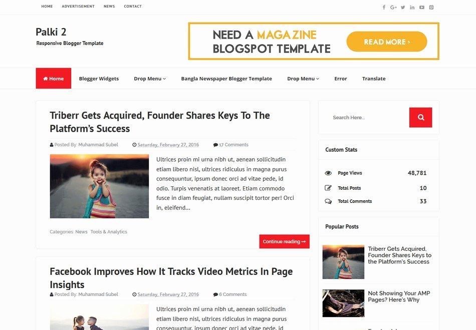 Palki 2 Responsive Blogger Template Free Download 2018