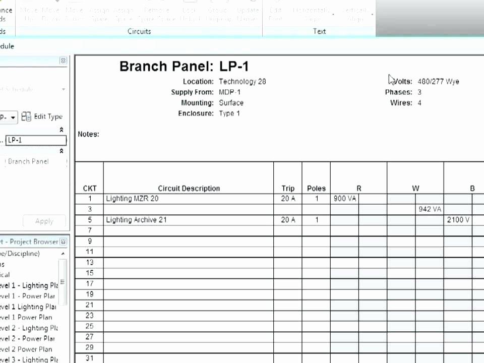 Panel Schedule Template Excel – Buildingcontractor