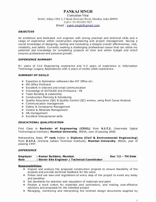 Pankaj Resume Construction Project Manager