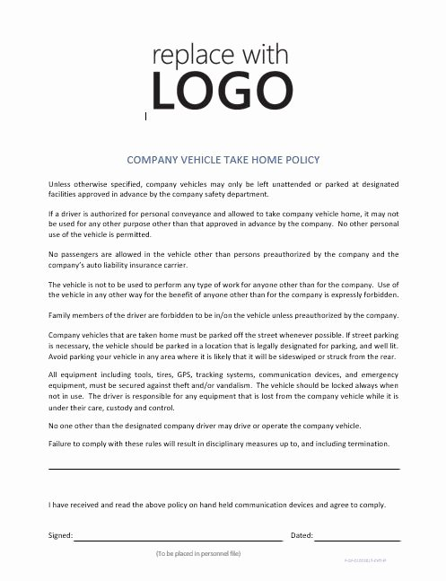 Pany Vehicle Take Home Policy – Cr Service Pany