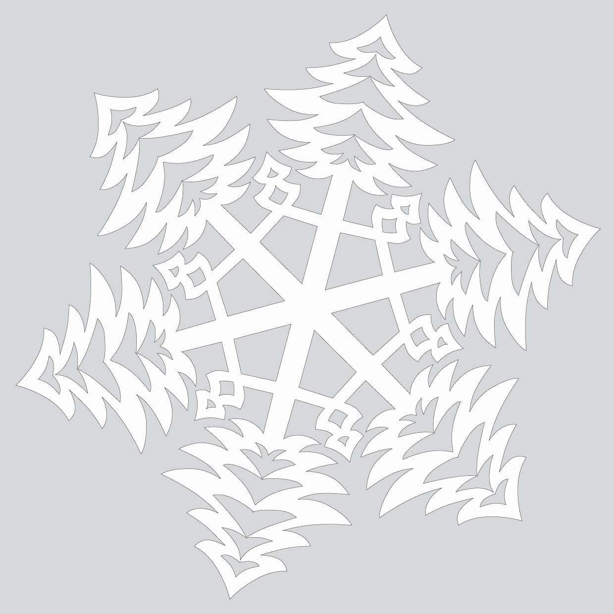 Paper Snowflake with Bushy Christmas Trees Pattern Cut Out