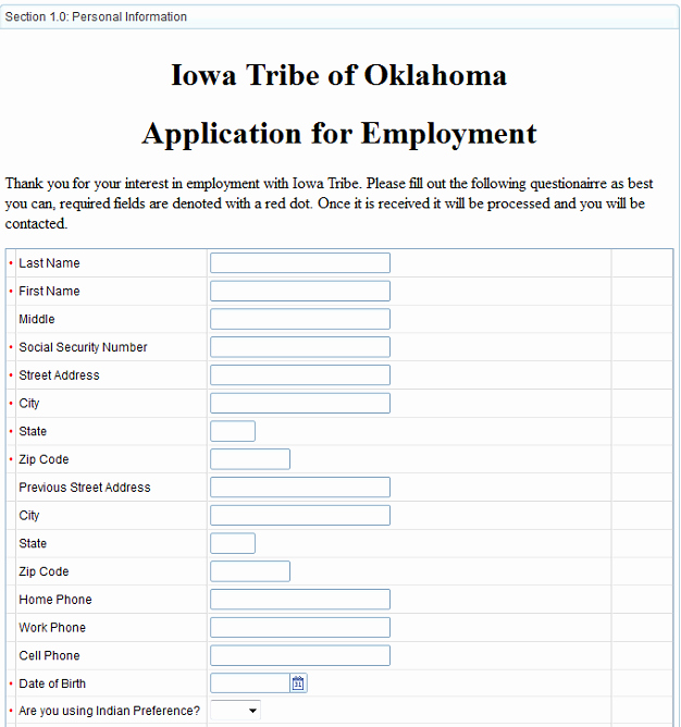 Paperless Human Resources Iowa Tribe Of Oklahoma