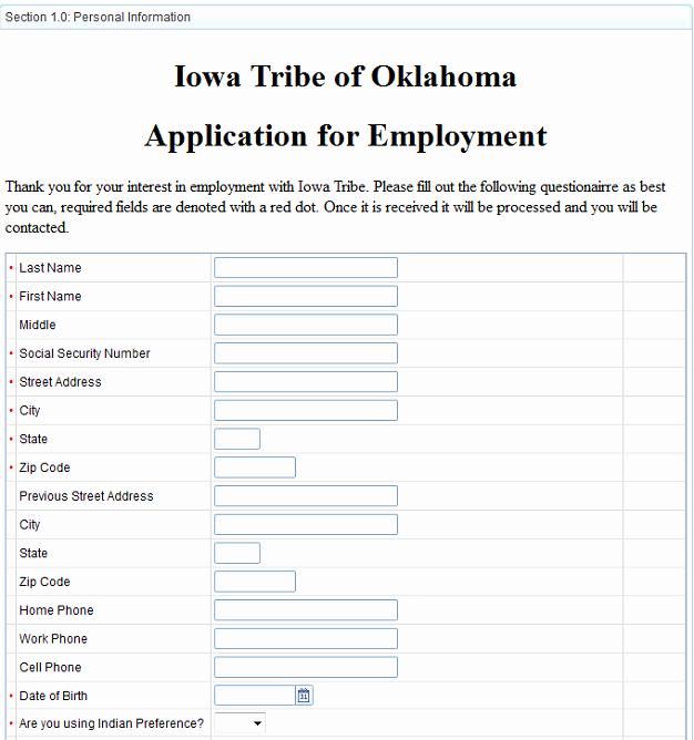 Paperless Human Resources Iowa Tribe Of Oklahoma