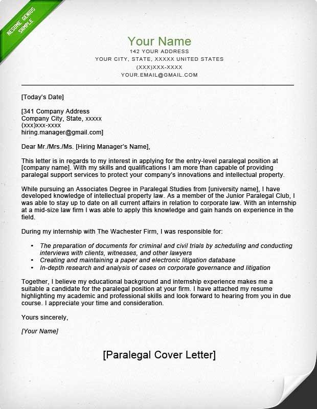 Paralegal Cover Letter Sample
