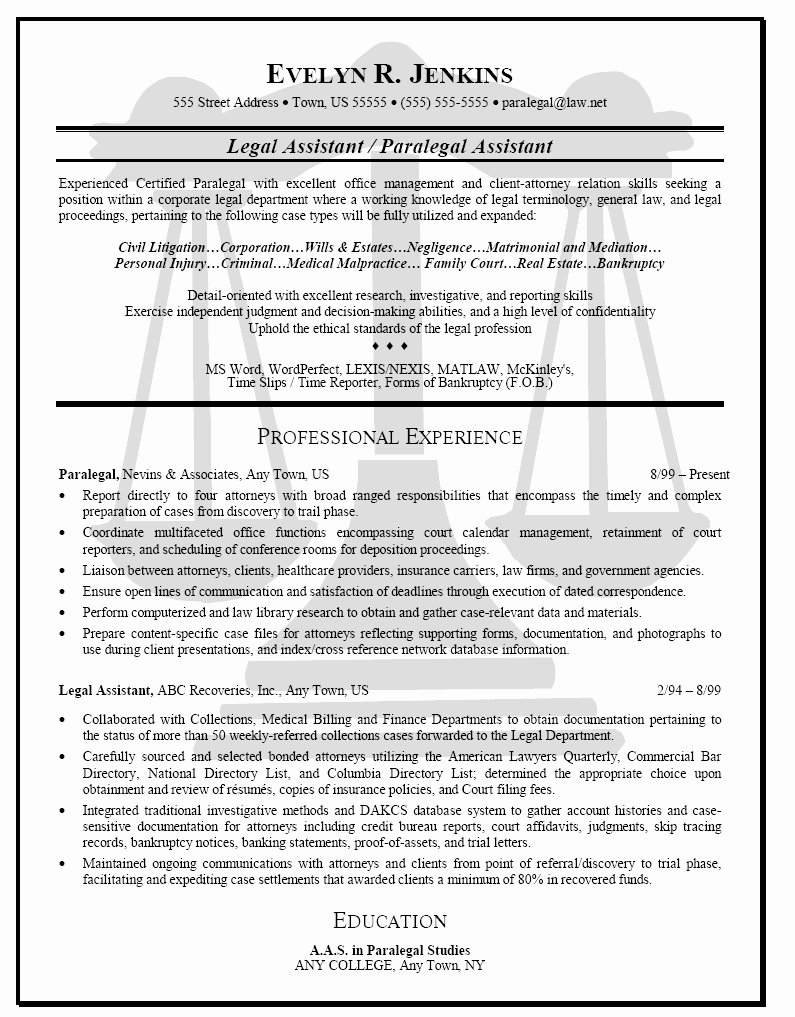 Paralegal Resume No Experience Luxury Entry Level – Latter Example