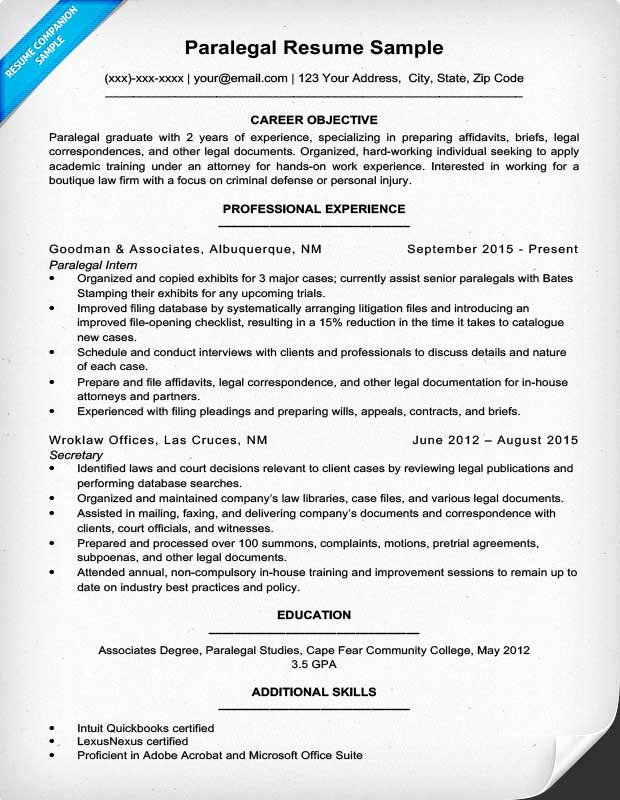 Paralegal Resume Sample & Writing Tips