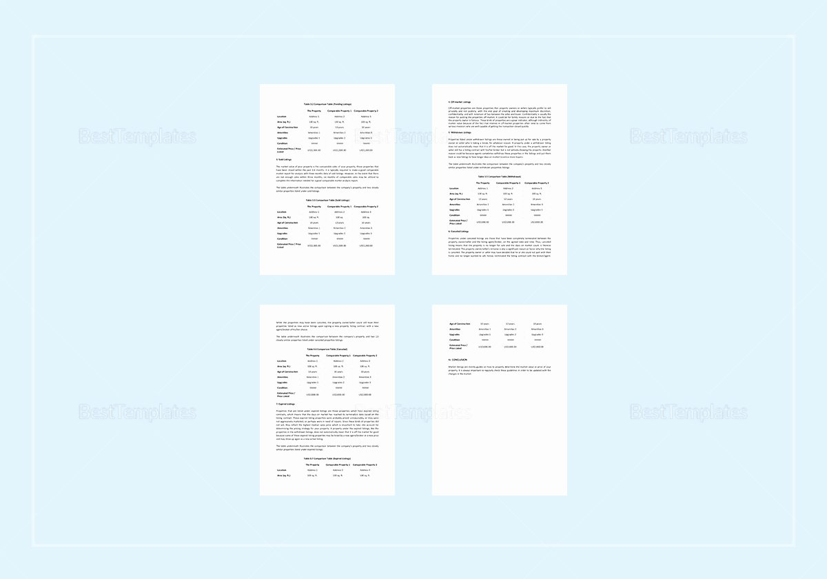 Parative Market Analysis Template In Word Apple Pages