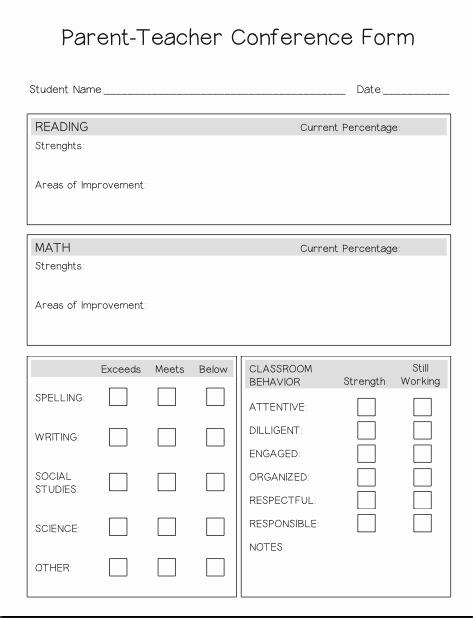 Parent Teacher Conference form – Lesson Boutique