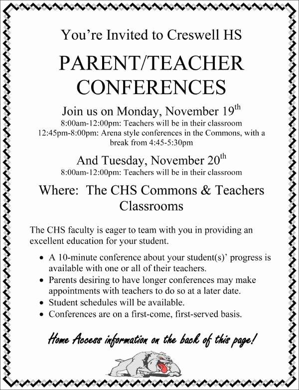 Parent Teacher Conference Invitation Cobypic
