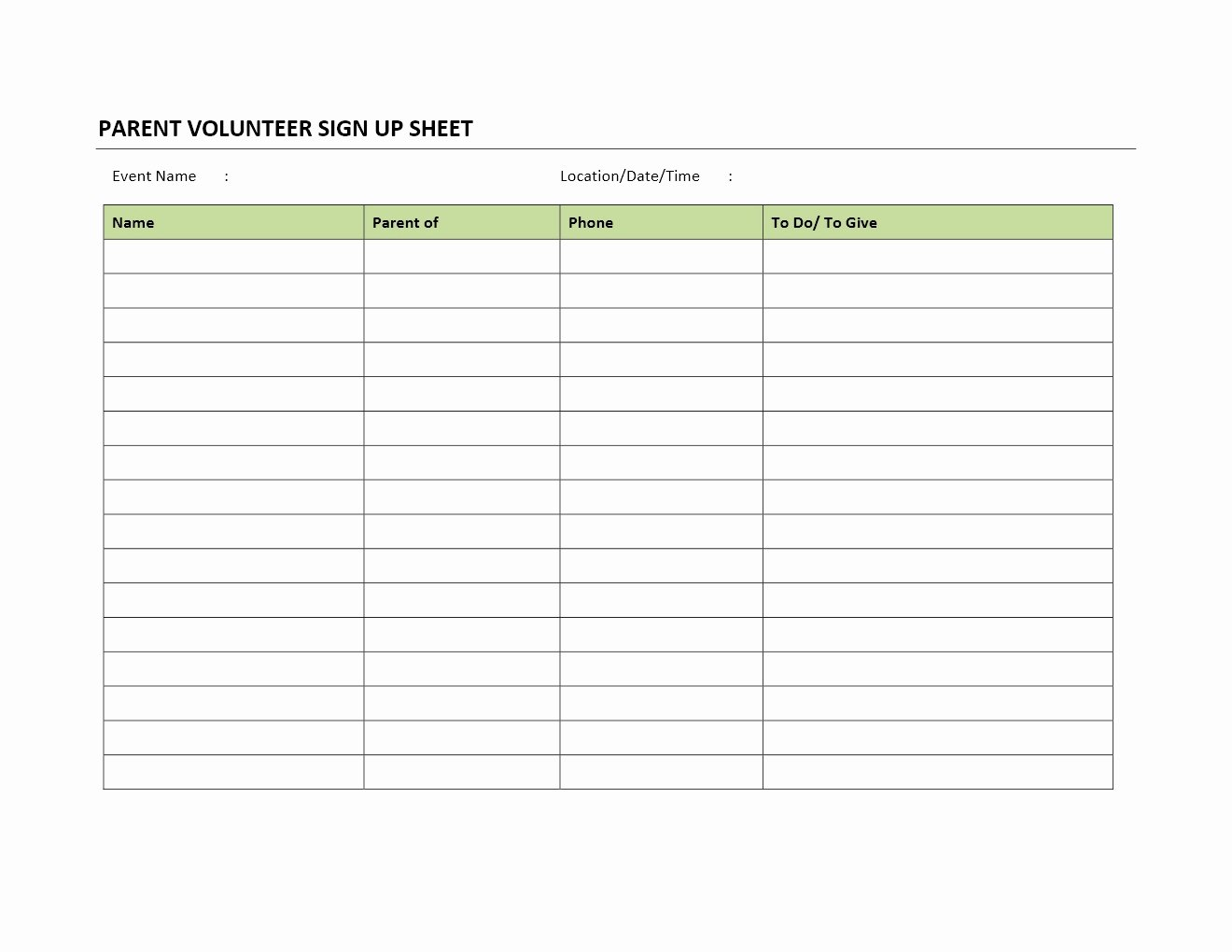 Parent Volunteer Sign Up Sheet