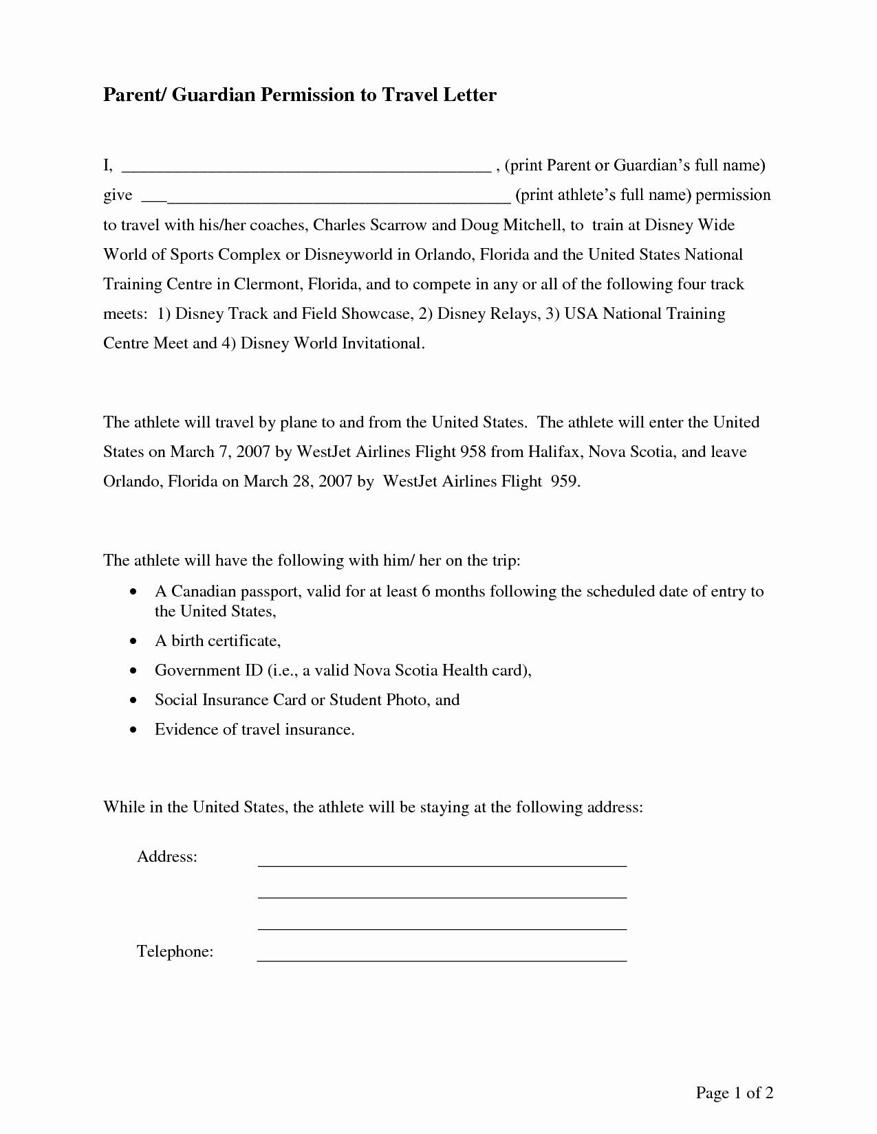 Parental Consent Permission Letter Sample