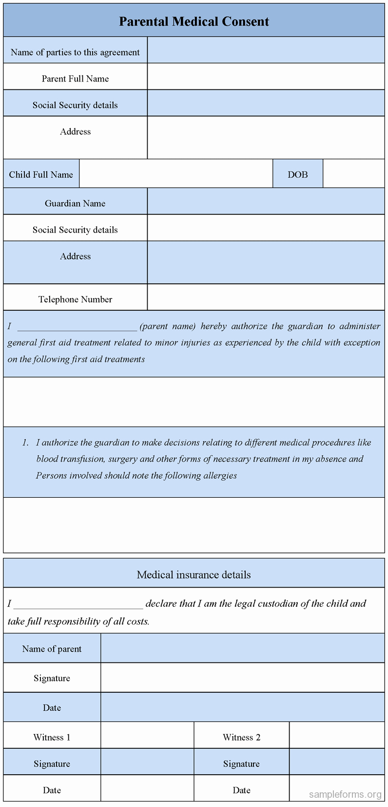 Parental Medical Consent form Sample forms