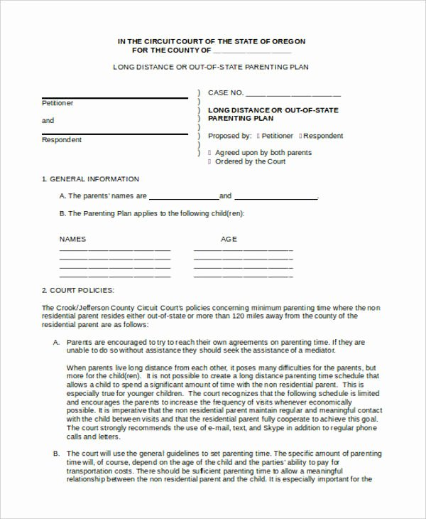 Parenting Agreement Template Free Five Things that Happen