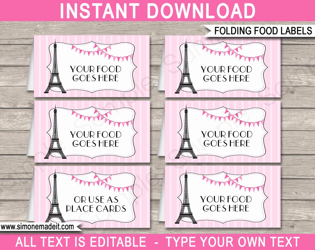 paris party food labels template