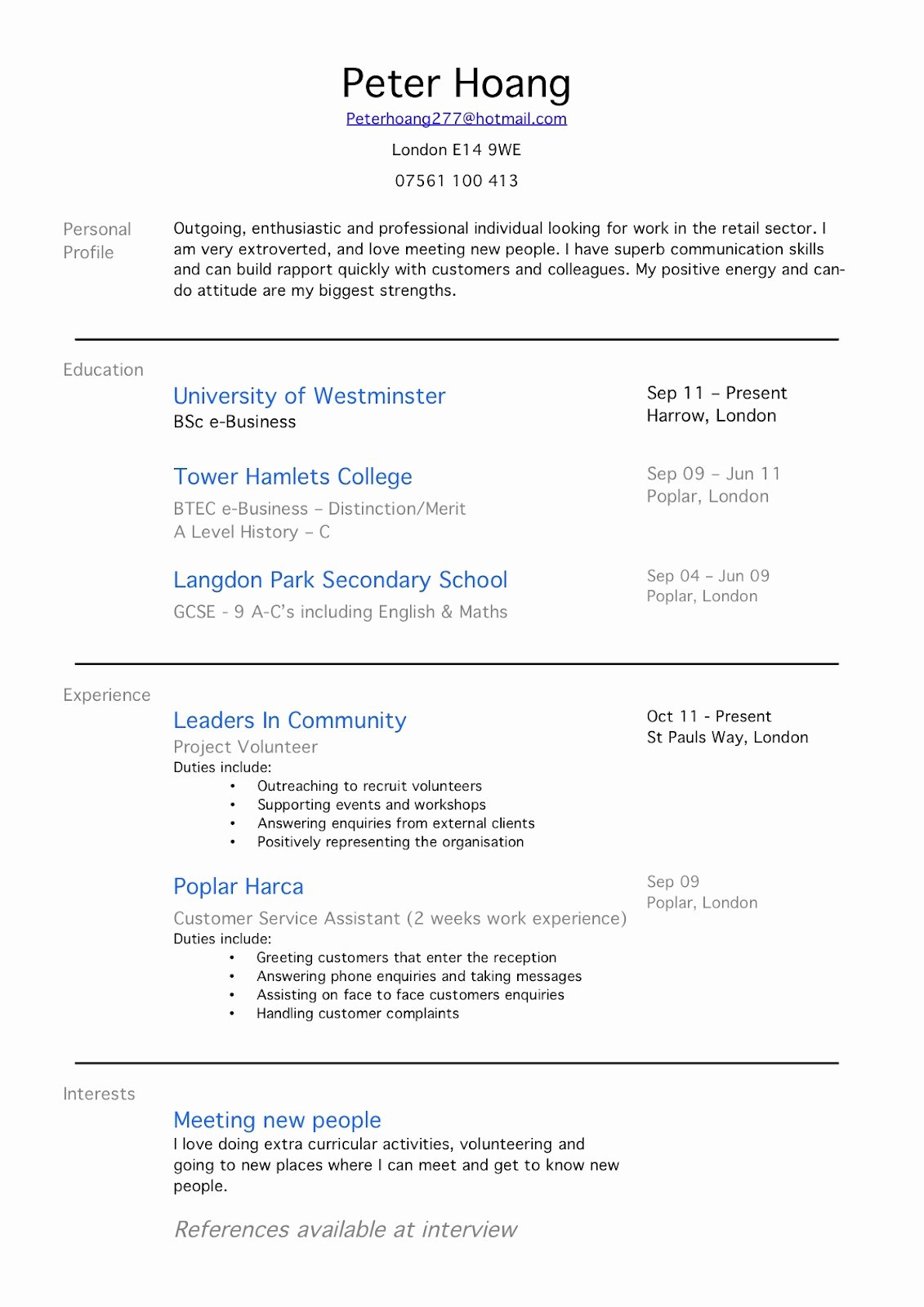 Part Time Job Resume No Experience – Perfect Resume format
