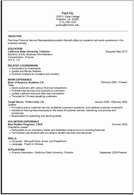 Part Time Job Resume Objective Best Resume Gallery