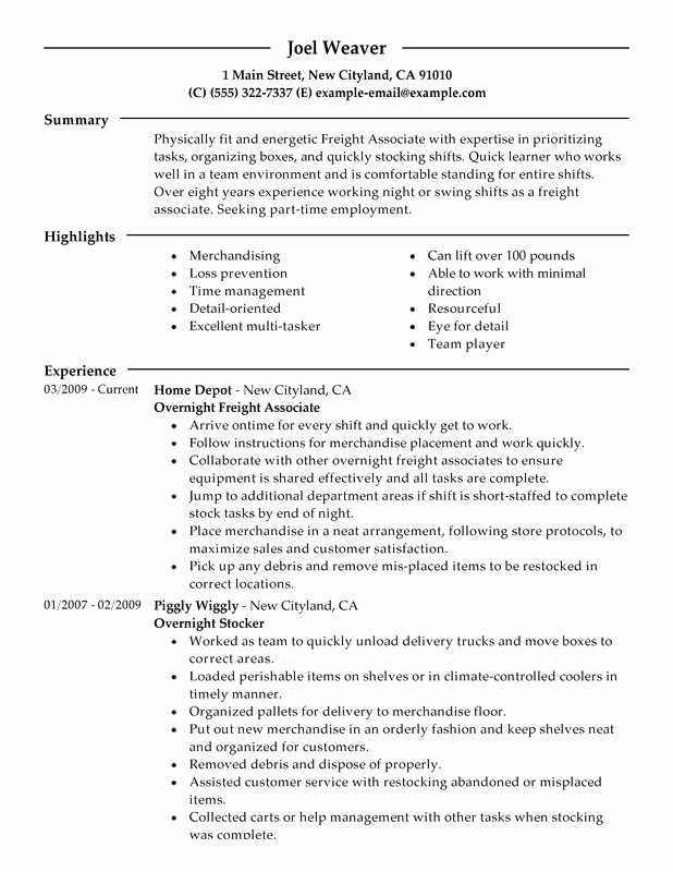 Part Time Overnight Freight associates Resume Examples