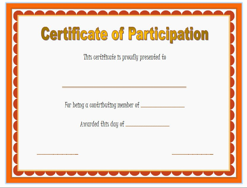 Participation Certificate Template 6 – Best 10 Templates