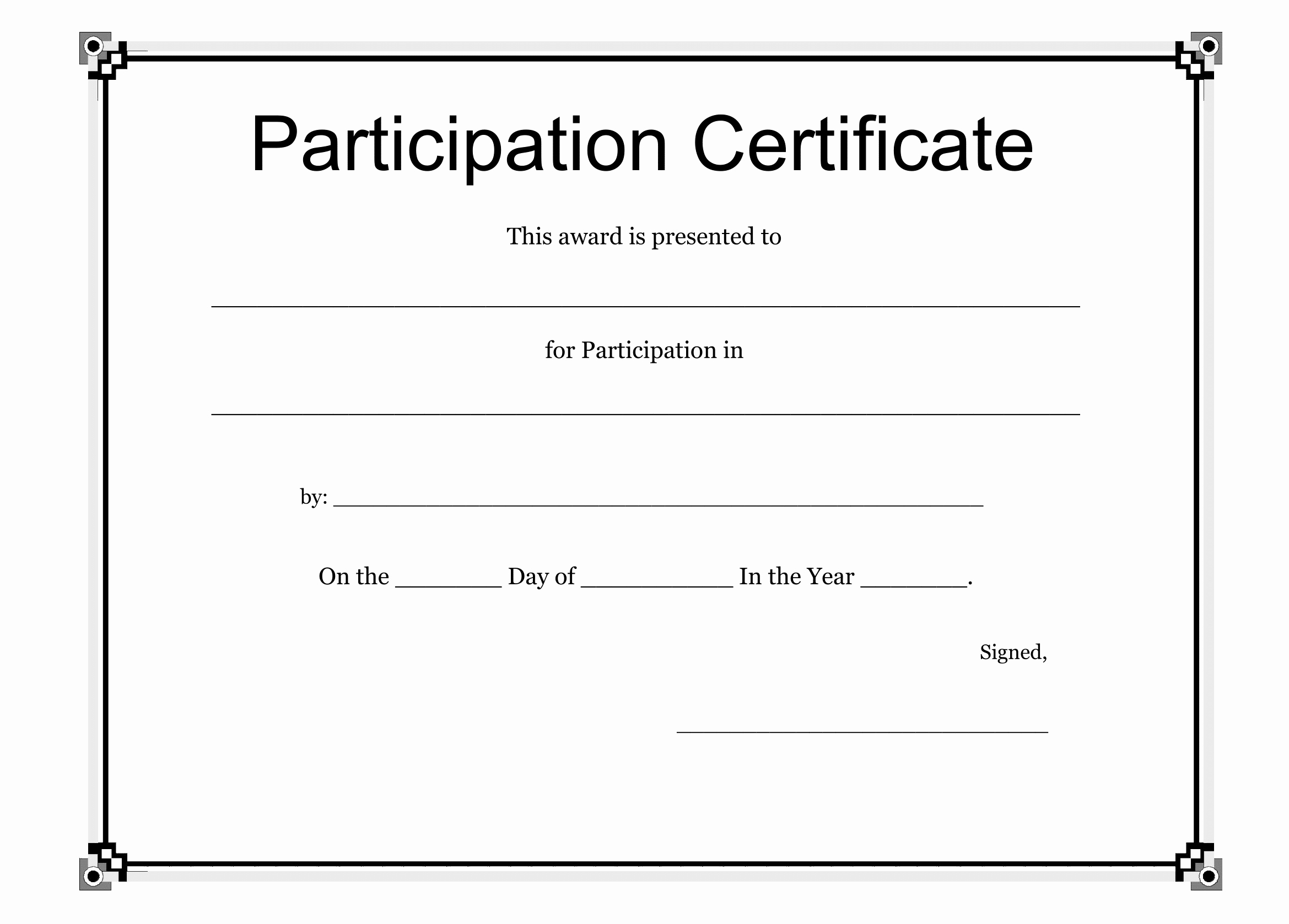 Participation Certificate Template Free Download