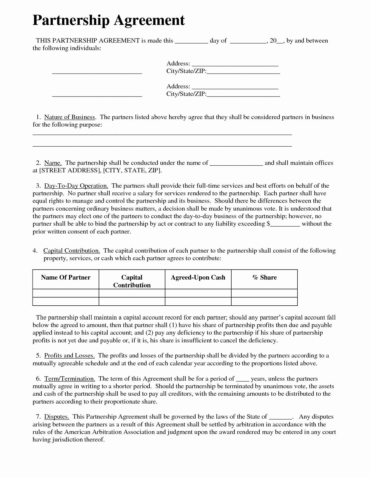 Partnership Agreement Business Templates