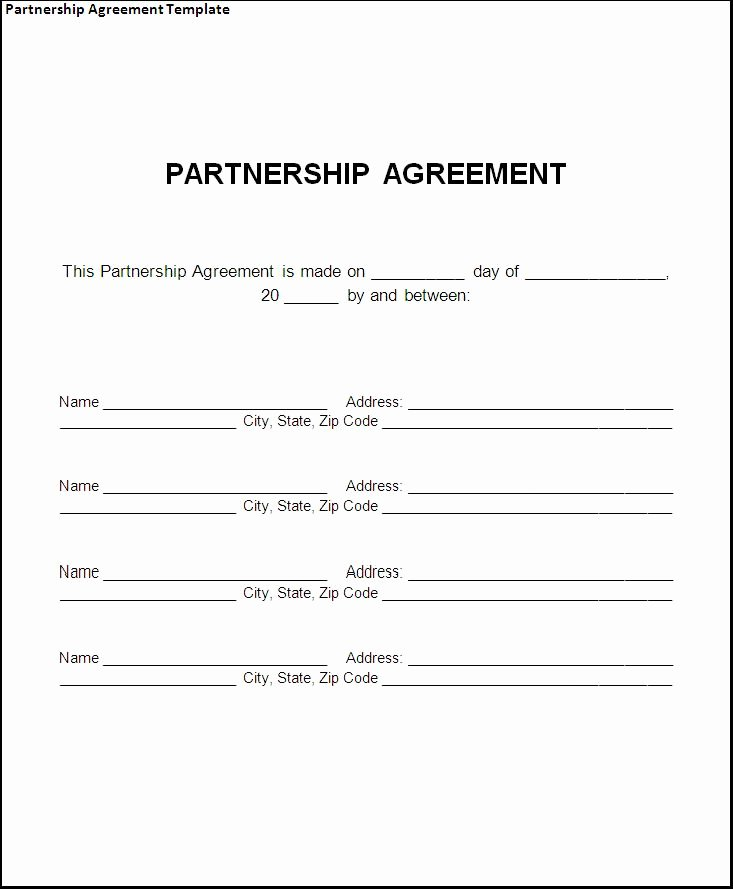 Partnership Agreement Template forms Word format Excel