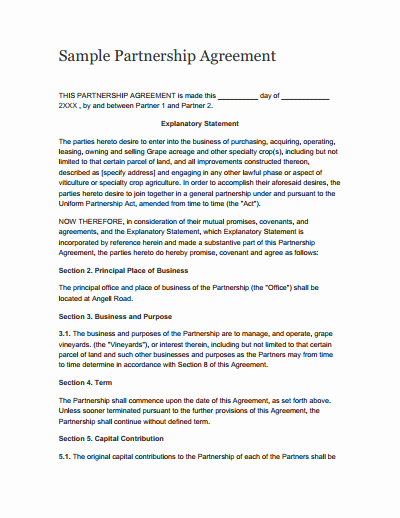 Partnership Agreement Template Free Download Create