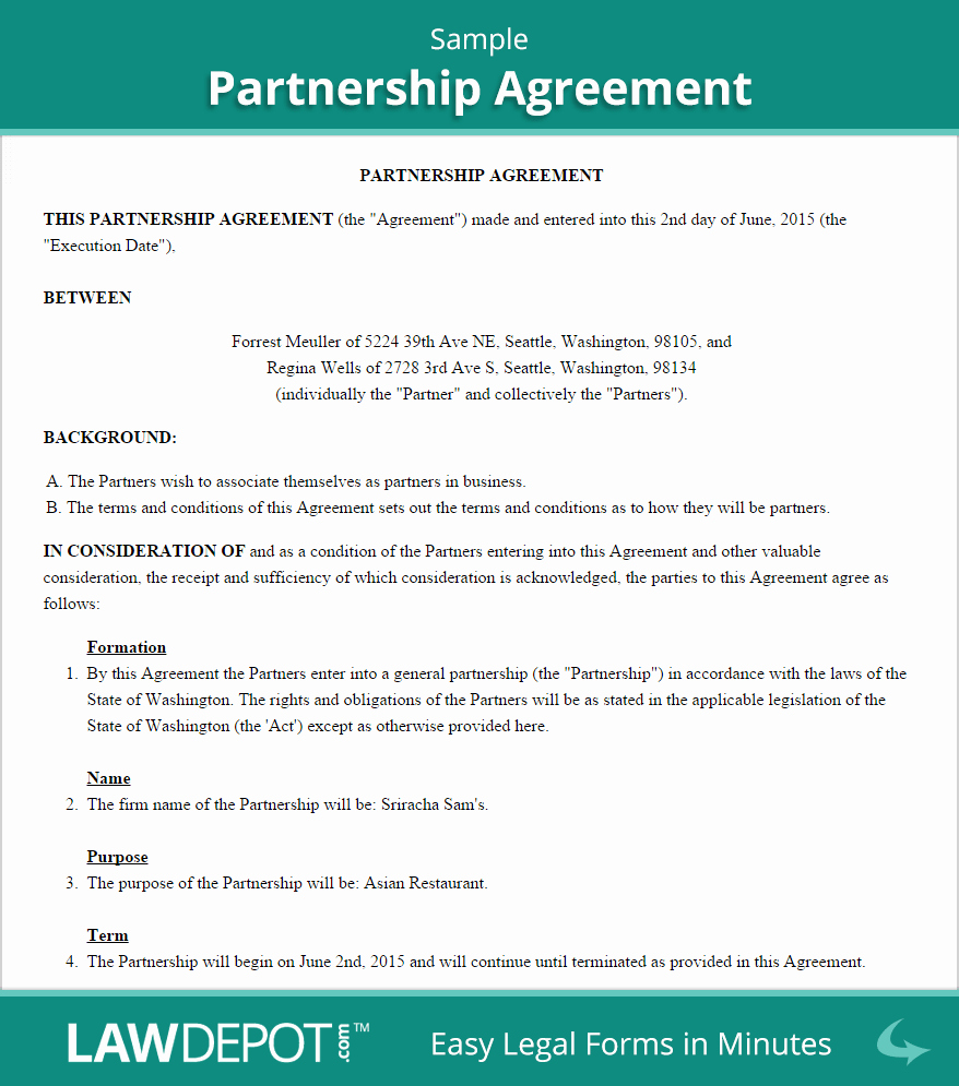 Partnership Agreement Template Us