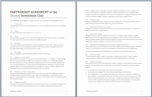 Partnership Contract Template Microsoft Word Templates