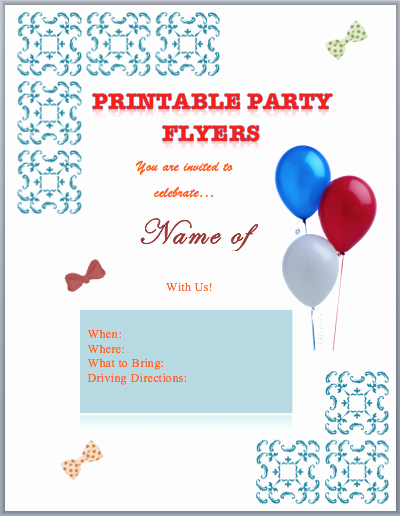 Party Flyer Templates Printable