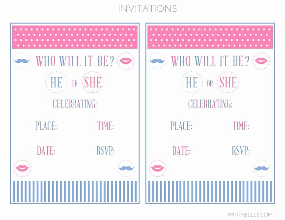 Party Invitation Cards Free Printable Gender Reveal Party