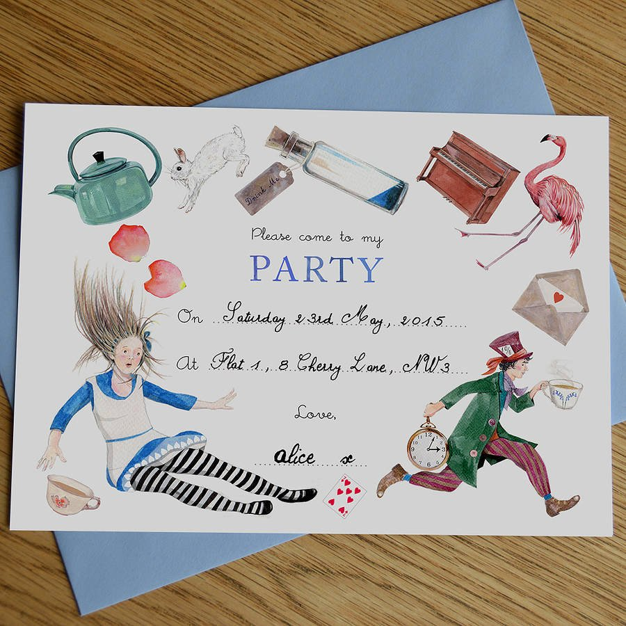 Party Invitation Templates Alice In Wonderland Party