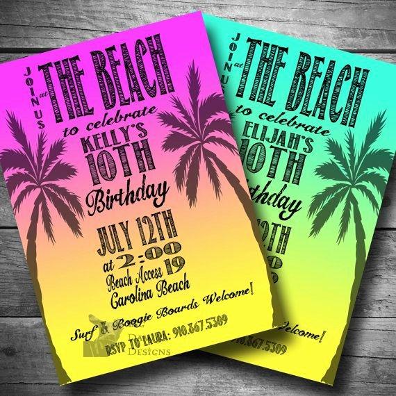Party Invitation Templates Beach Party Invitations