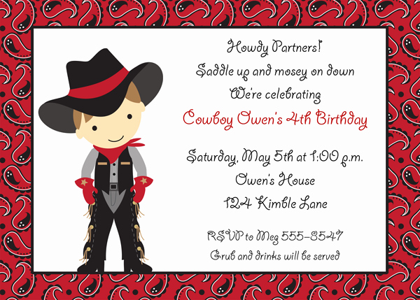 Party Invitation Templates Cowboy Party Invitations