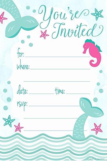 Party Invitation Templates Mermaid Party Invitations