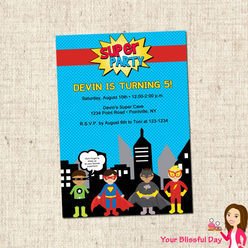 Party Invitation Templates Superhero Party Invitations