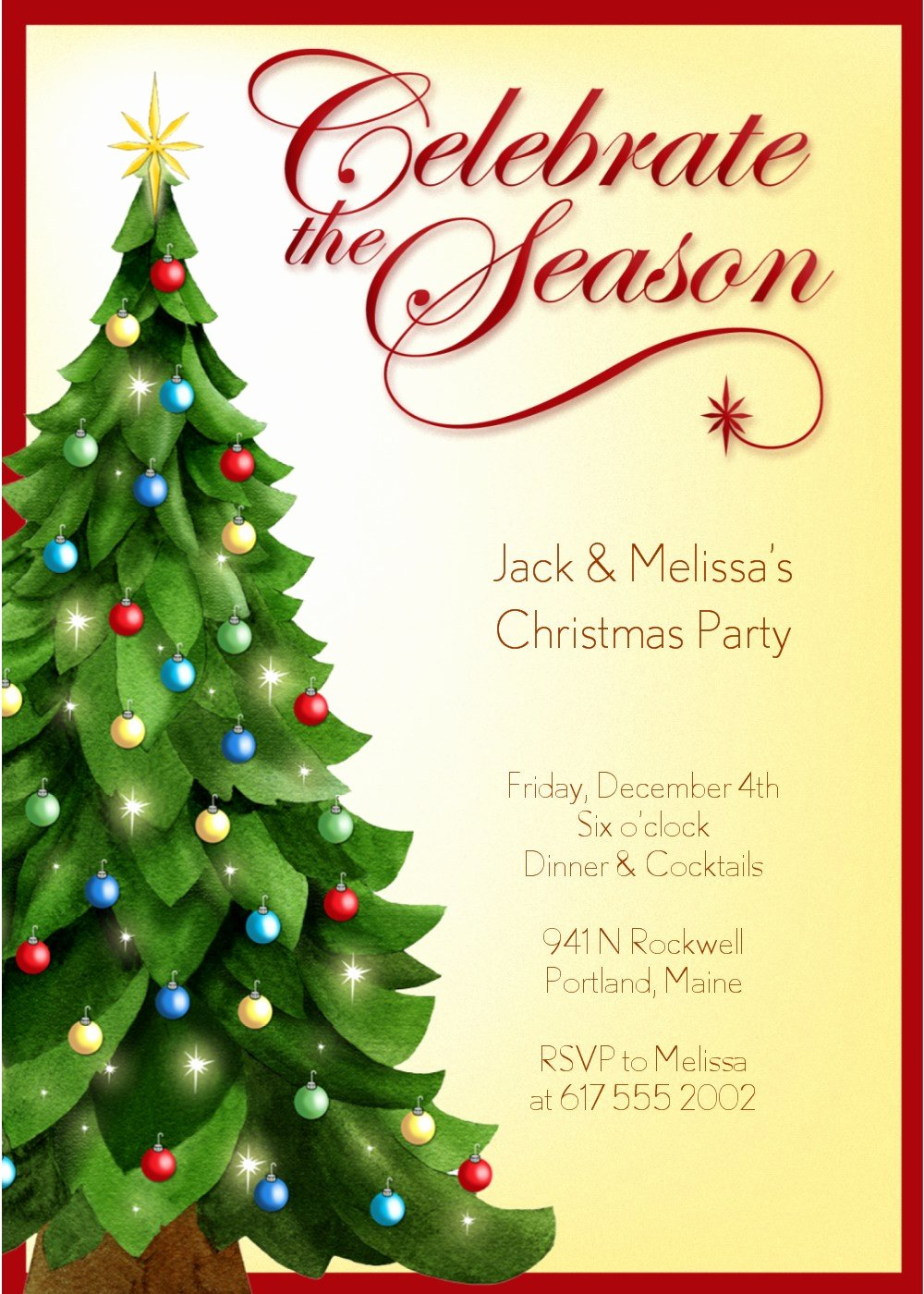 Party Invitations Christmas Party Invitation Template