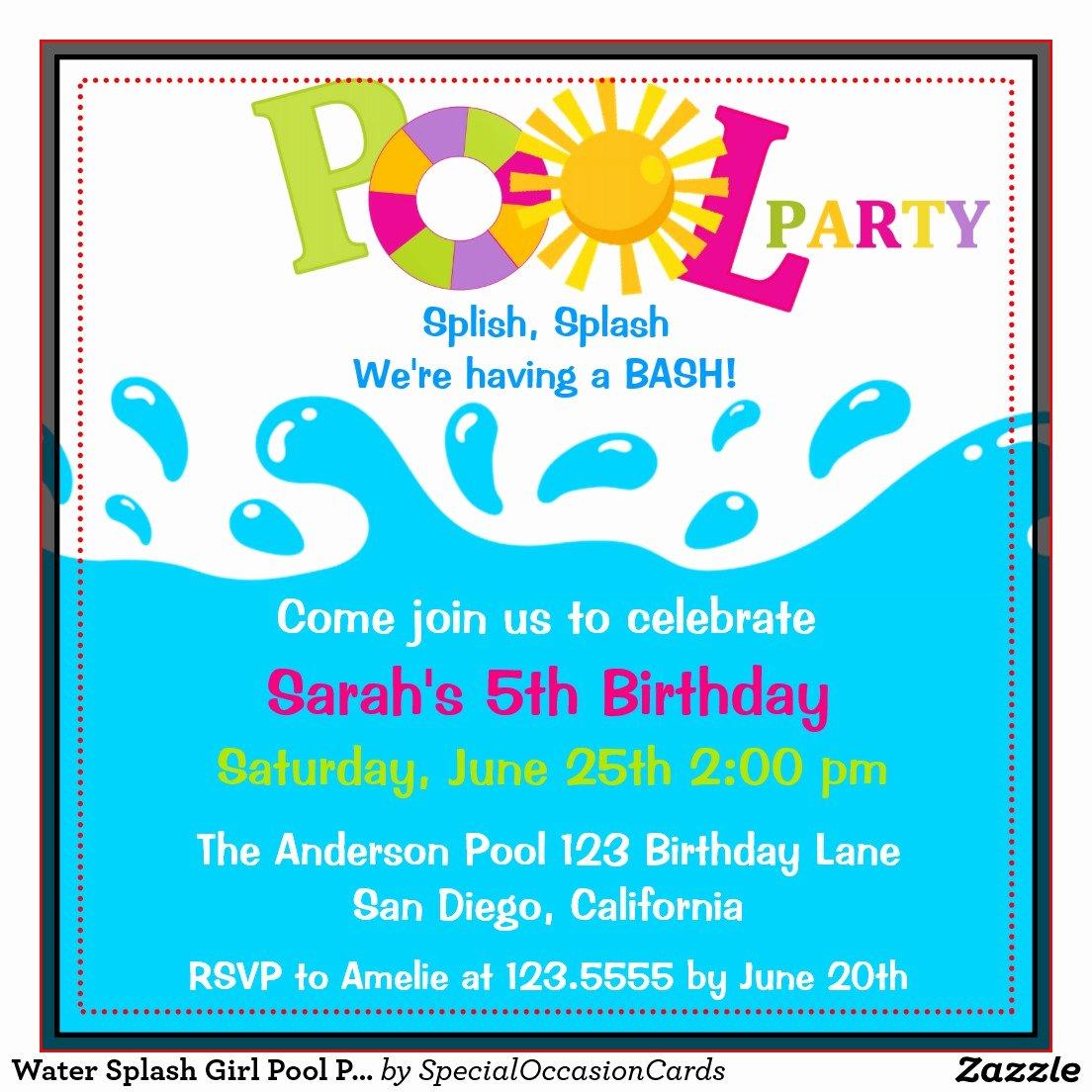 Party Invitations Free Pool Party Birthday Invitations