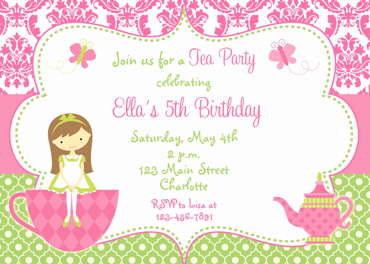 Party Invitations Free Tea Party Invitation Template