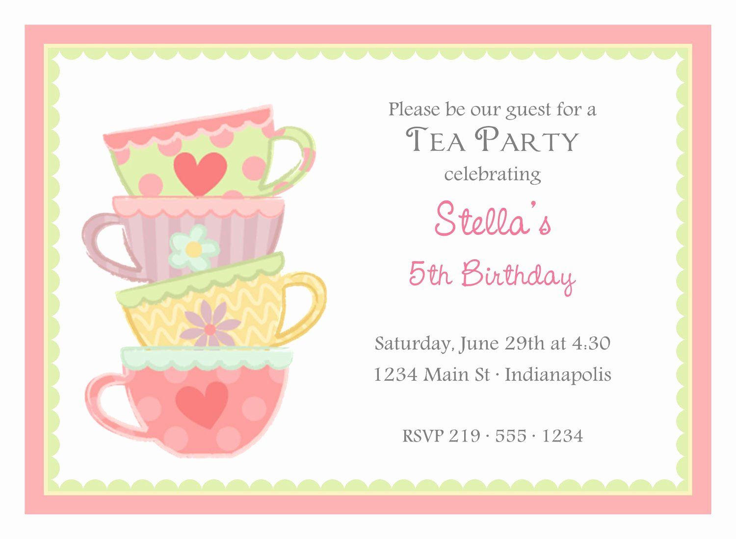 free tea party invitation template detail ideas cool