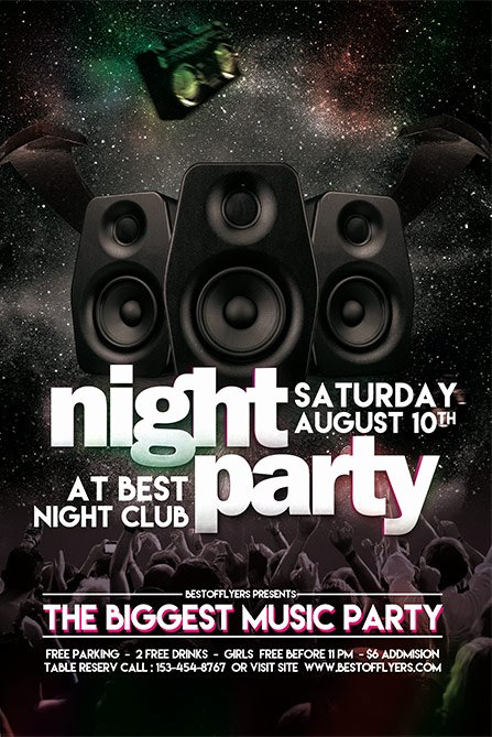 Party Night Free Poster and Flyer Template Download Free